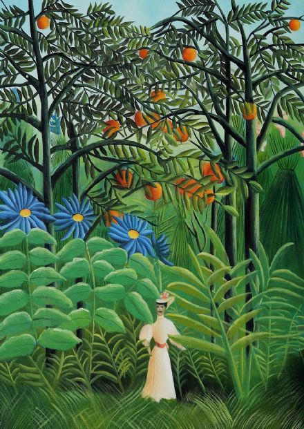 Rousseau, Henri: Woman Walking in an Exotic Forest. Fine Art Print/Poster. Sizes: A4/A3/A2/A1 (00560)